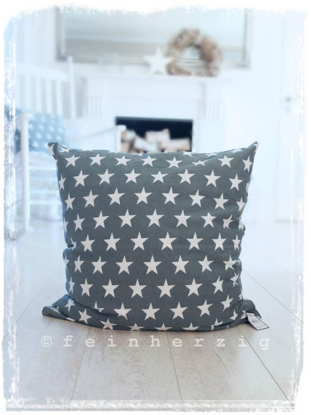 kissenh lle gro dunkelgrau wei e sterne kissenbezug shabby vintage 60x60 stern ebay. Black Bedroom Furniture Sets. Home Design Ideas