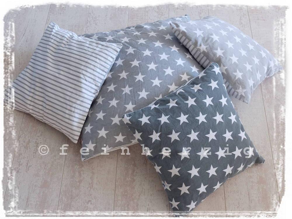 kissenh lle gro grau wei e sterne kissenbezug shabby vintage 60x60 stern. Black Bedroom Furniture Sets. Home Design Ideas