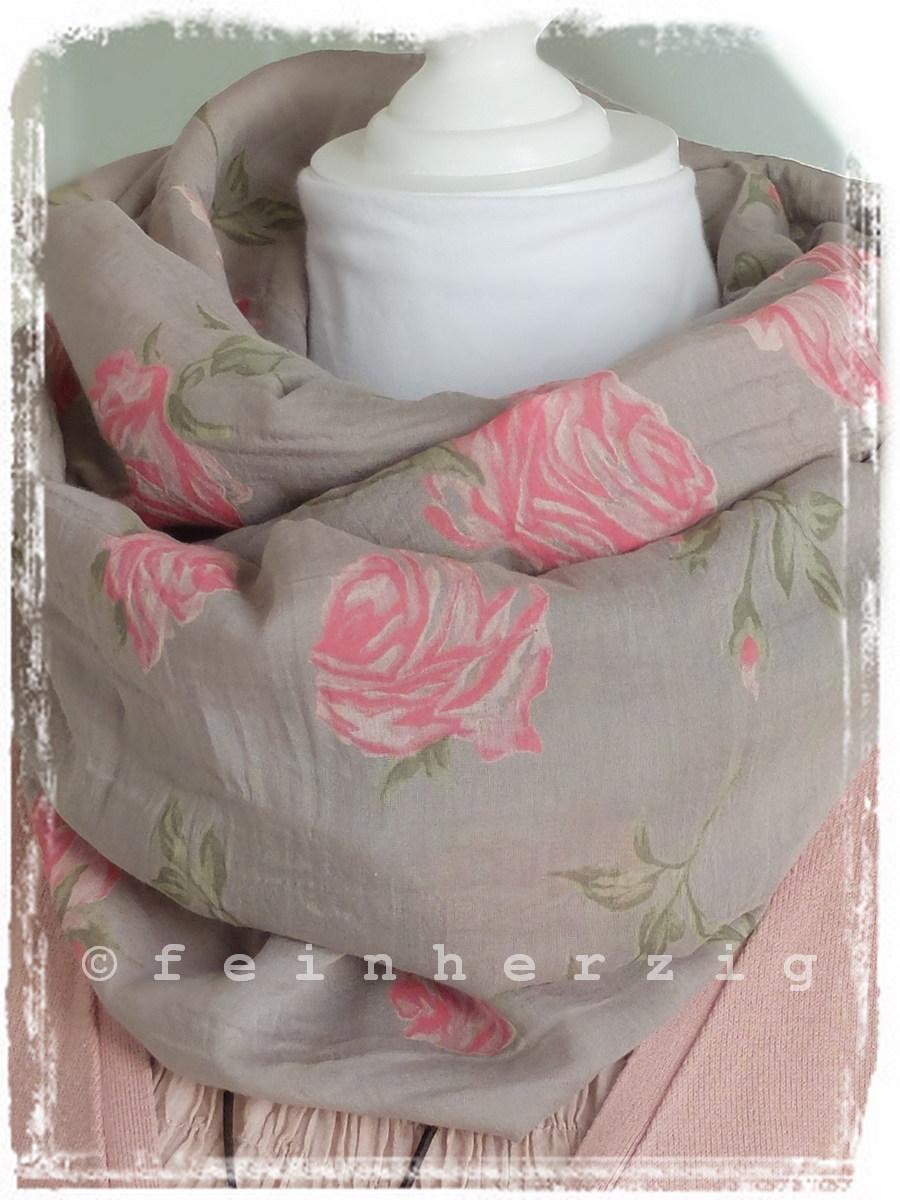 loop schal seide taupe rosen rosa blumen fr hjahr 2015 trend italy schlauchschal ebay. Black Bedroom Furniture Sets. Home Design Ideas