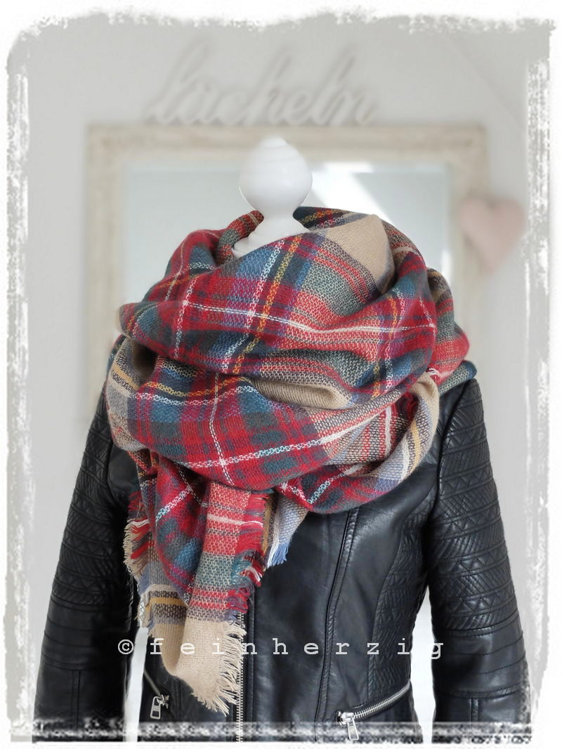 xxl blogger schal kariert beige rot bunt plaid scarf tuch. Black Bedroom Furniture Sets. Home Design Ideas