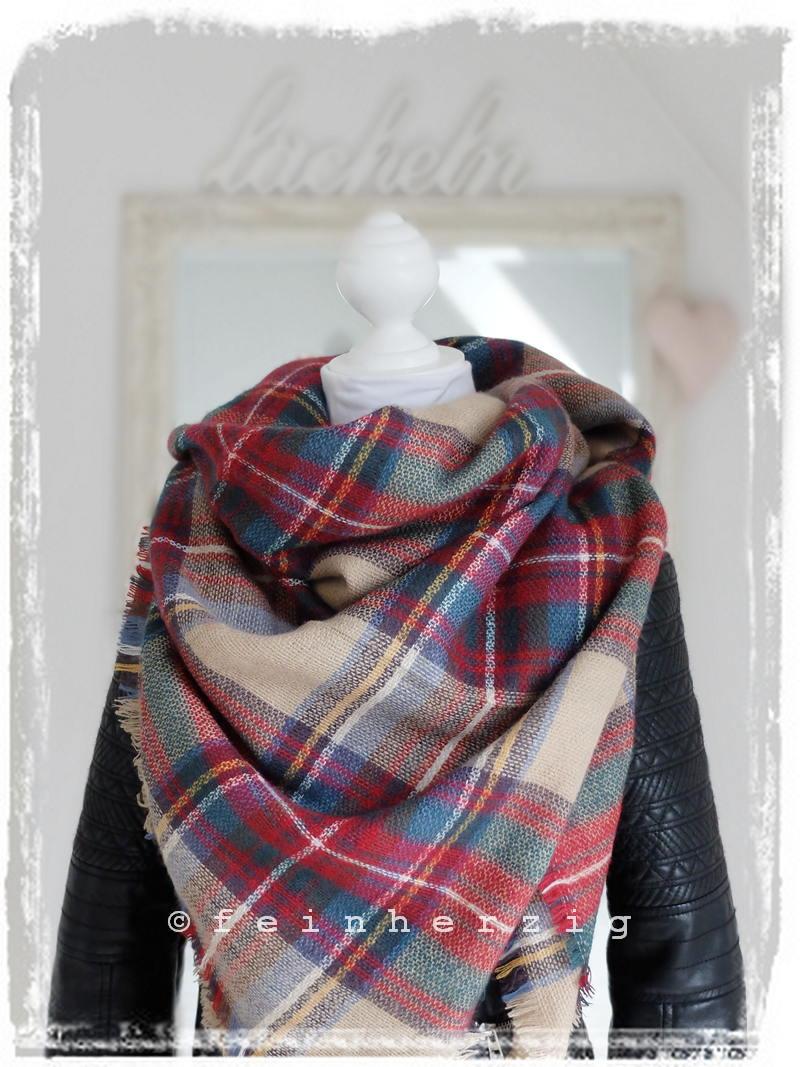 xxl blogger schal kariert beige rot bunt plaid scarf tuch. Black Bedroom Furniture Sets. Home Design Ideas