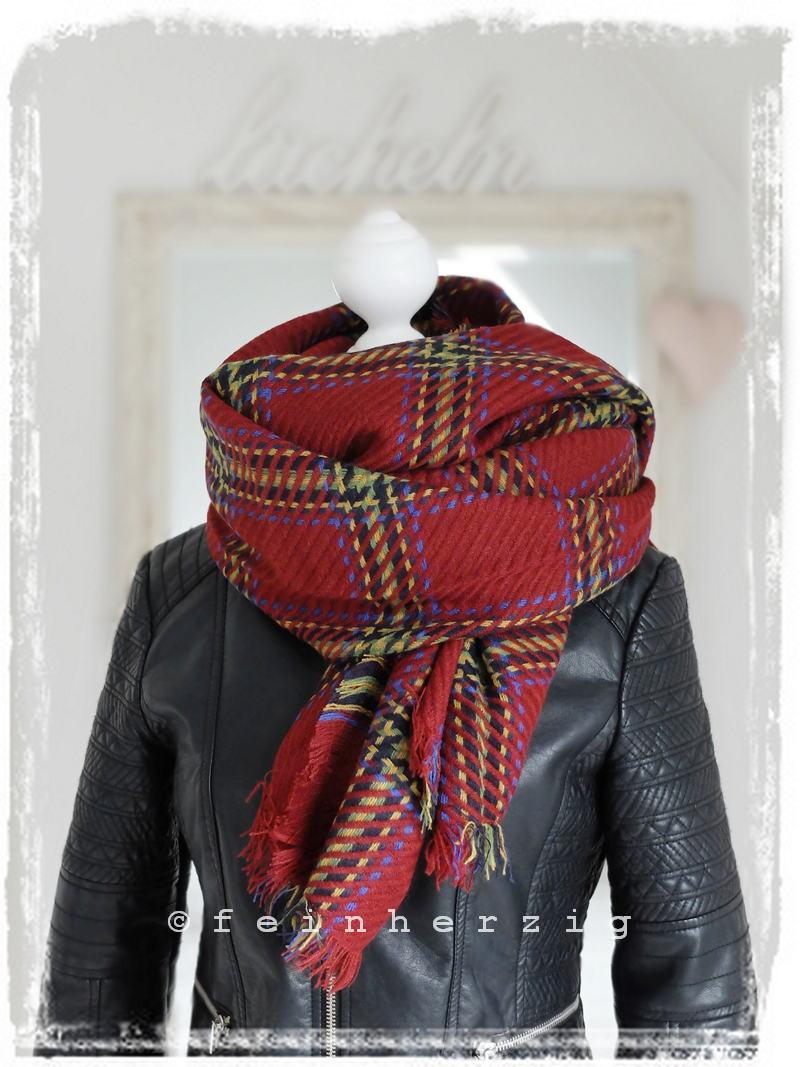 xxl blogger schal kariert rot bunt gitter plaid scarf tuch. Black Bedroom Furniture Sets. Home Design Ideas