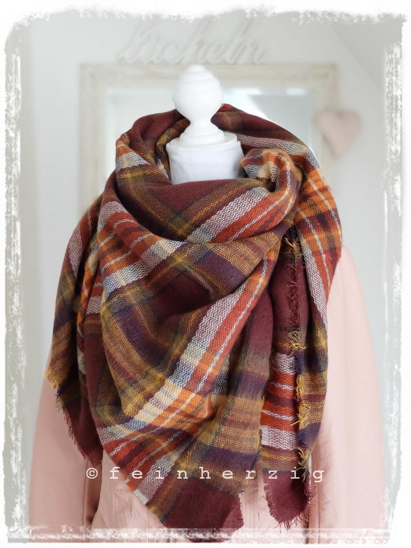 xxl blogger schal kariert bordeaux orange gelb tartan scarf plaid tuch ebay. Black Bedroom Furniture Sets. Home Design Ideas