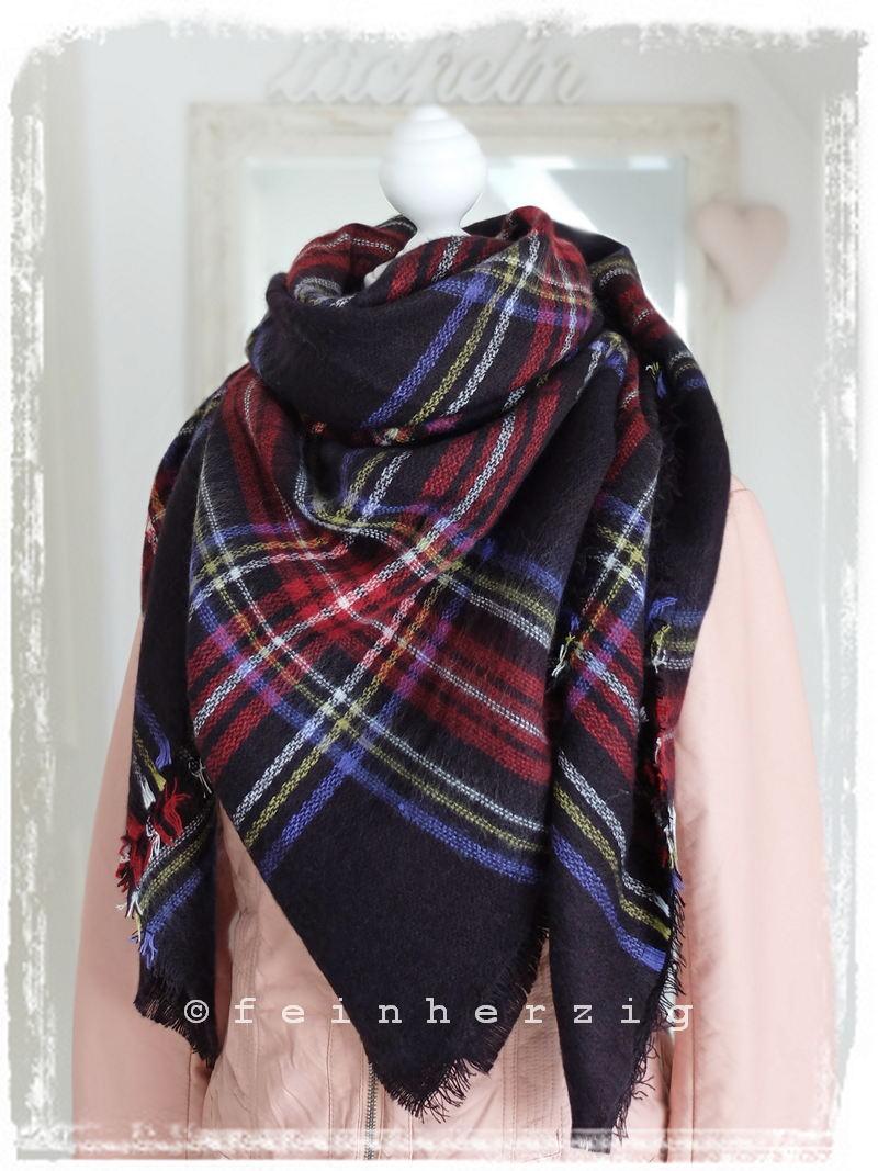 xxl blogger schal kariert schwarz rot blau tartan plaid scarf tuch umhang ebay. Black Bedroom Furniture Sets. Home Design Ideas