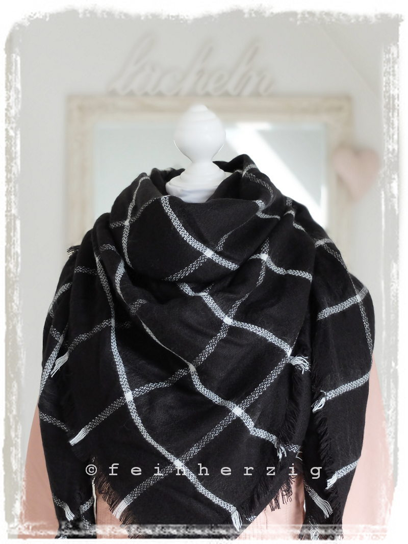 xxl blogger schal kariert schwarz weiss gitter plaid scarf. Black Bedroom Furniture Sets. Home Design Ideas