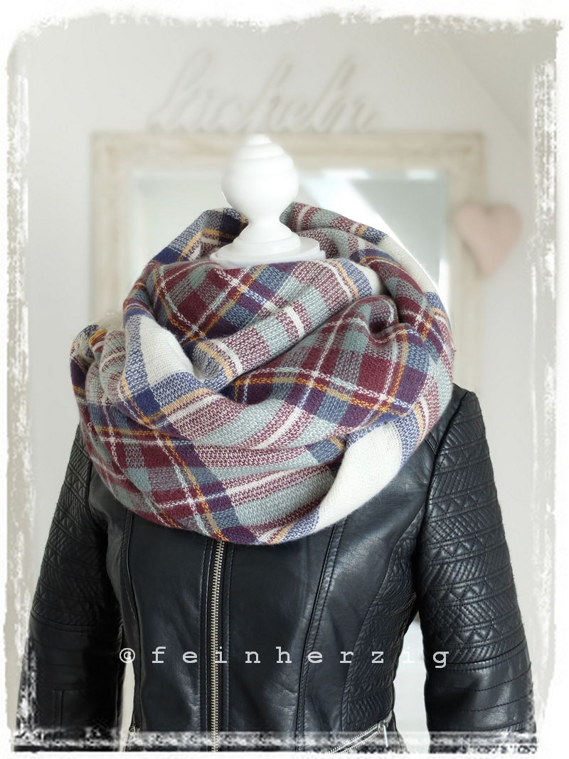 xxl blogger schal kariert weiss bordeaux blau neu tartan plaid scarf ebay. Black Bedroom Furniture Sets. Home Design Ideas