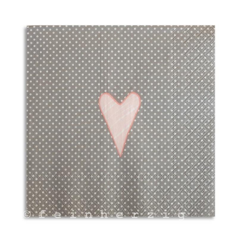 servietten lay gepunktet mit herz grau rosa serviette punkte ebay. Black Bedroom Furniture Sets. Home Design Ideas