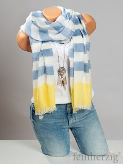 baltic-blue-xl-schal-tuch-lisa-blau-weiss-gelb-gestreift-viskose-mit-fransen