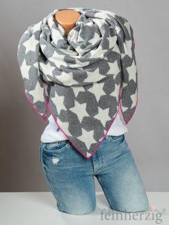 zwillingsherz-dreieckstuch-mit-kaschmir-grau-sterne-weiss-mit-kante-in-pink