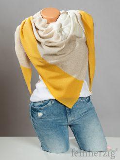 zwillingsherz-dreieckstuch-mit-kaschmir-gelb-beige-wollweiss-blockstreifen
