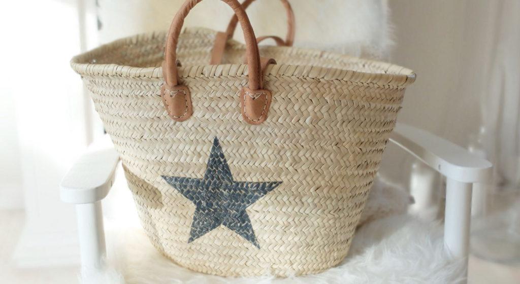 Ibizatasche Ibiza Korb Tasche mit Stern schwarz
