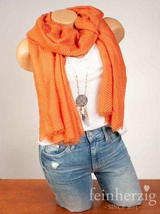 schal-tuch-aus-viskose-orange-mit-kleinen-punkten-und-fransen-feinherzig-basic-collection