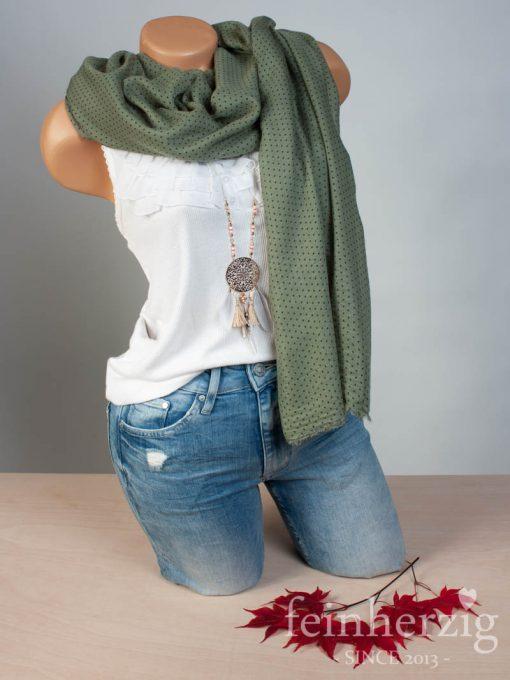 Schal Tuch aus Viskose OLIV mit kleinen Punkten und Fransen - feinherzig Basic Collection