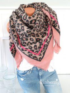 XL tuch schal leo rosa beige fransen