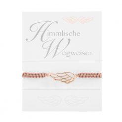 armband engelsfluegel himmlische wegweiser geknuepft rosegold