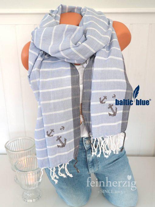 balticblue schal tuch xl linda baumwolle viskose blau weiss anker fransen