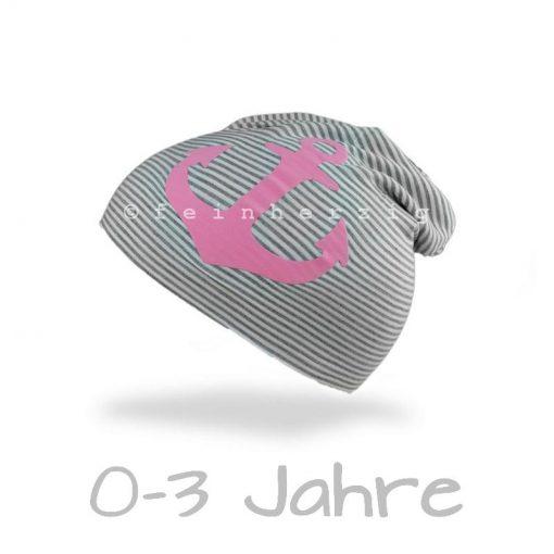 Jersey Mütze Ringel Beanie GRAU Anker rosa Kleinkind