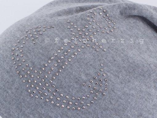 Hellgraue Beanie Mütze mit Anker aus Glitzerstnieten / Steinchen mit Baumwolle / Viscose
