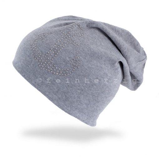 Hellgraue Beanie Mütze mit Anker aus Glitzerstnieten / Steinchen mit Baumwolle / Viscose feinherzig