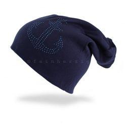 Dunkelblaue Beanie Mütze mit Anker aus Glitzerstnieten / Steinchen mit Baumwolle / Viscose. Lässig in der City oder an der See zu tragen