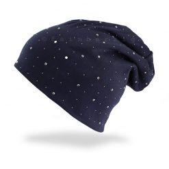 beanie muetze glitzer nieten marine dunkelblau jersey