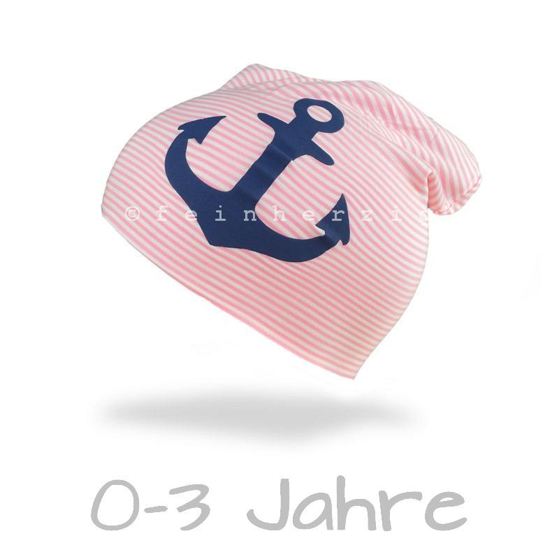 Jersey Mütze Ringel Beanie ROSA Anker blau Kleinkind
