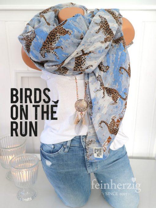 birds on the run xl schal tuch blau leopard lurex gold