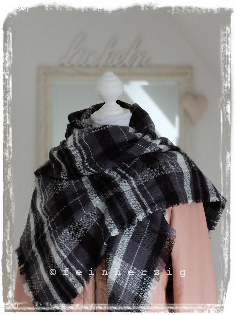 xxl blogger schal kariert schwarz weiss grau. Black Bedroom Furniture Sets. Home Design Ideas