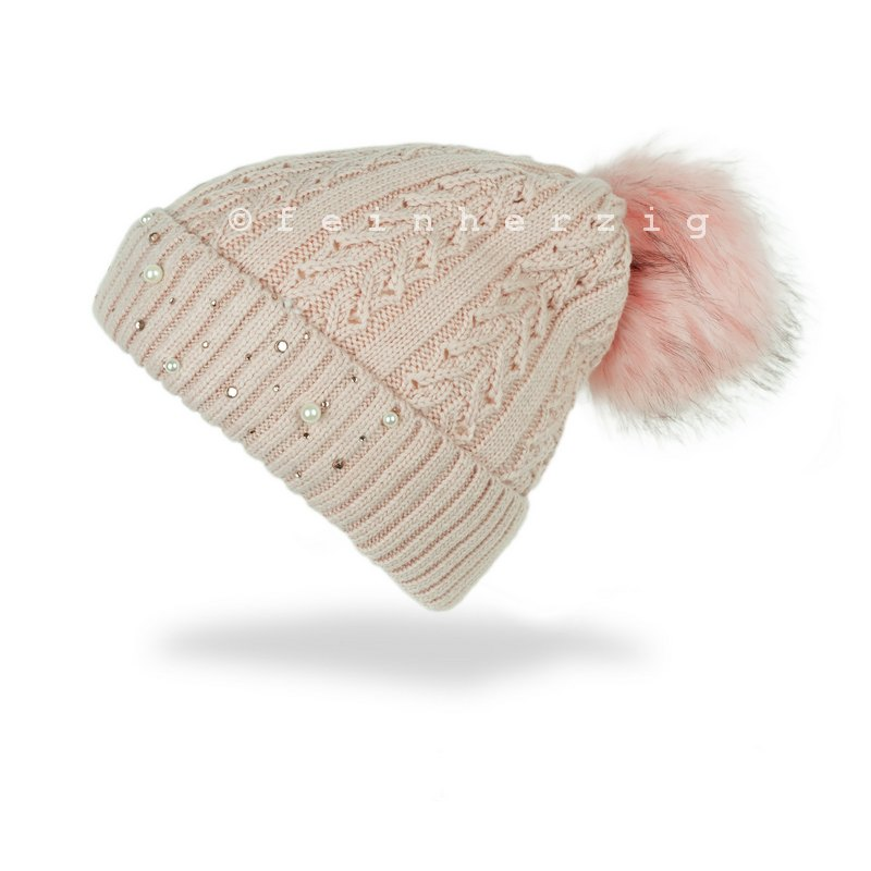 Baby Mütze Winter Strick Bommelmütze Mädchen rosa Zopfmuster
