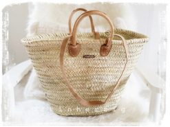 Korbtasche Natur von Fabrizio aus Palmblatt mit 4fach Echtlederhenkel Ibizatasche Strandtasche