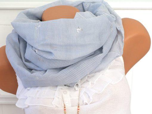 loop schal hellblau weiß streifen gestreift anker silber 1