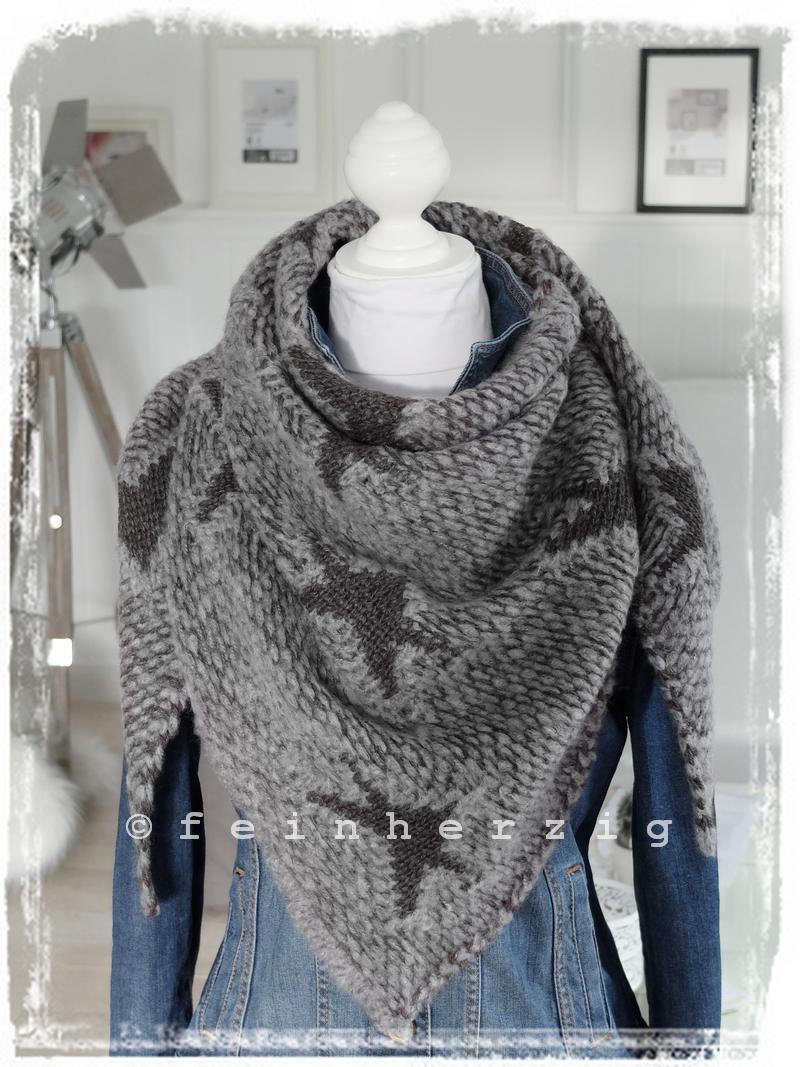 dreieckstuch sterne grau meliert grobstrick wolle schal scarf plaid strick stern ebay. Black Bedroom Furniture Sets. Home Design Ideas