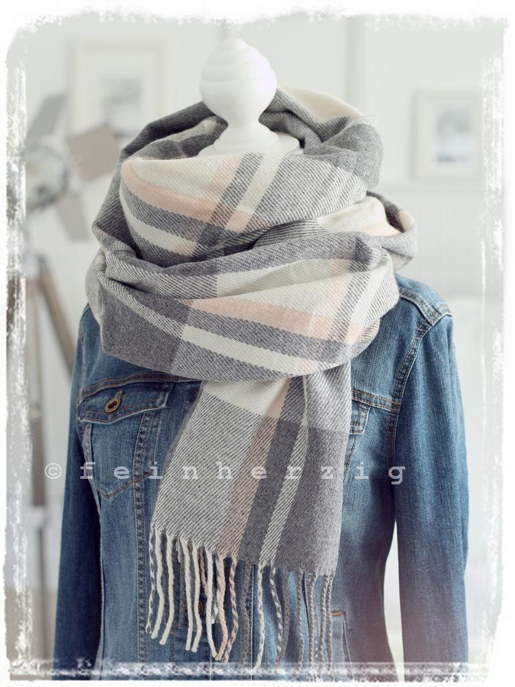 xxl schal karo grau rosa creme fransen tuch scarf plaid webschal kariert ebay. Black Bedroom Furniture Sets. Home Design Ideas