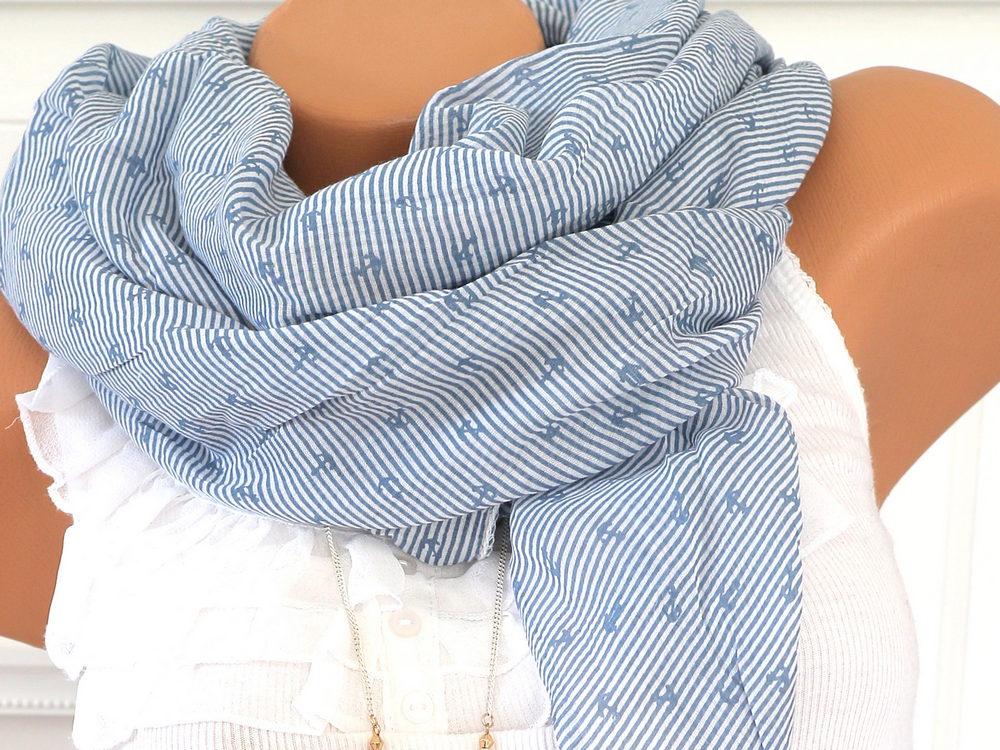 529f4445c97773 Schal Tuch mit Seide Anker BLAU WEISS gestreift - jetzt günstig kaufen!