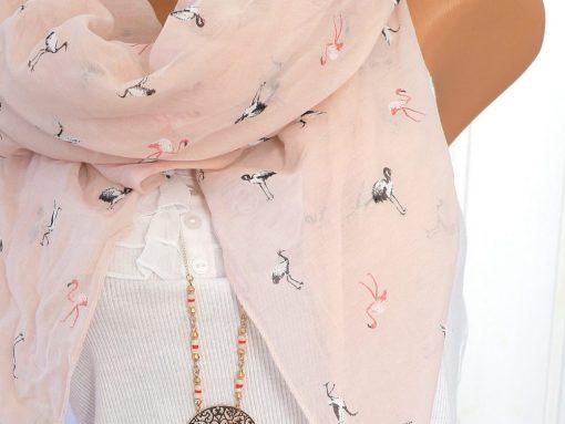 schal tuch rosa flamingo vogel seide baumwolle halstuch 1