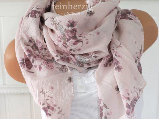 schal tuch seide baumwolle rosa rosen blumen halstuch 1