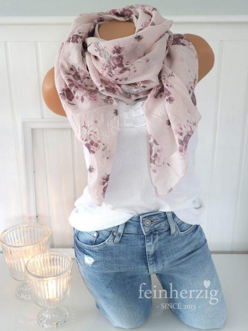 schal tuch seide baumwolle rosa rosen blumen halstuch