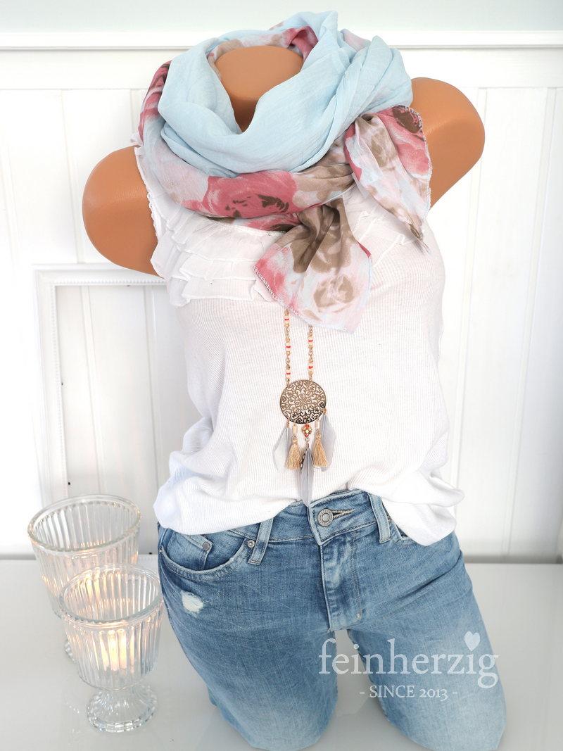 f54a4a81b25a48 Schal Tuch mit Seide Baumwolle HELLBLAU große Rosen Halstuch Scarf ...