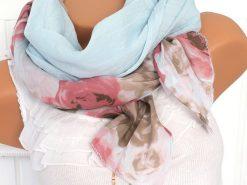 schal tuch seide hellblau rosen gross kante halstuch baumwolle 1