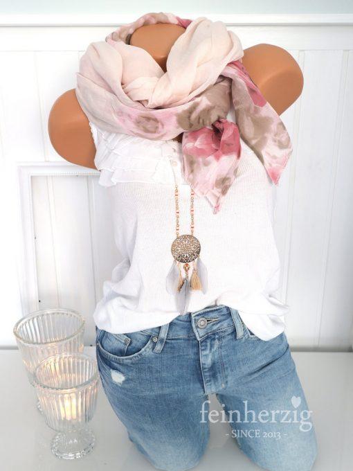 schal tuch seide rosa rosen gross kante halstuch baumwolle 1