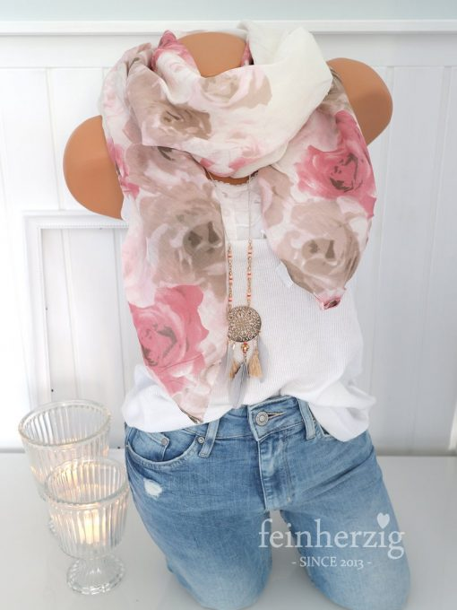 schal tuch seide weiss rosen gross kante halstuch baumwolle 2