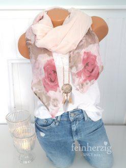 schal tuch seide rosa rosen gross kante halstuch baumwolle