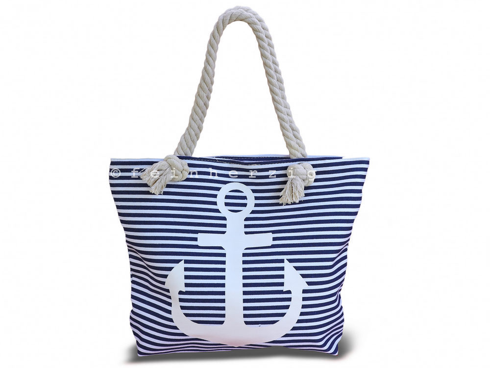 maritime tasche blau weiss gestreift mit anker in wei strandtasche shopper ebay. Black Bedroom Furniture Sets. Home Design Ideas