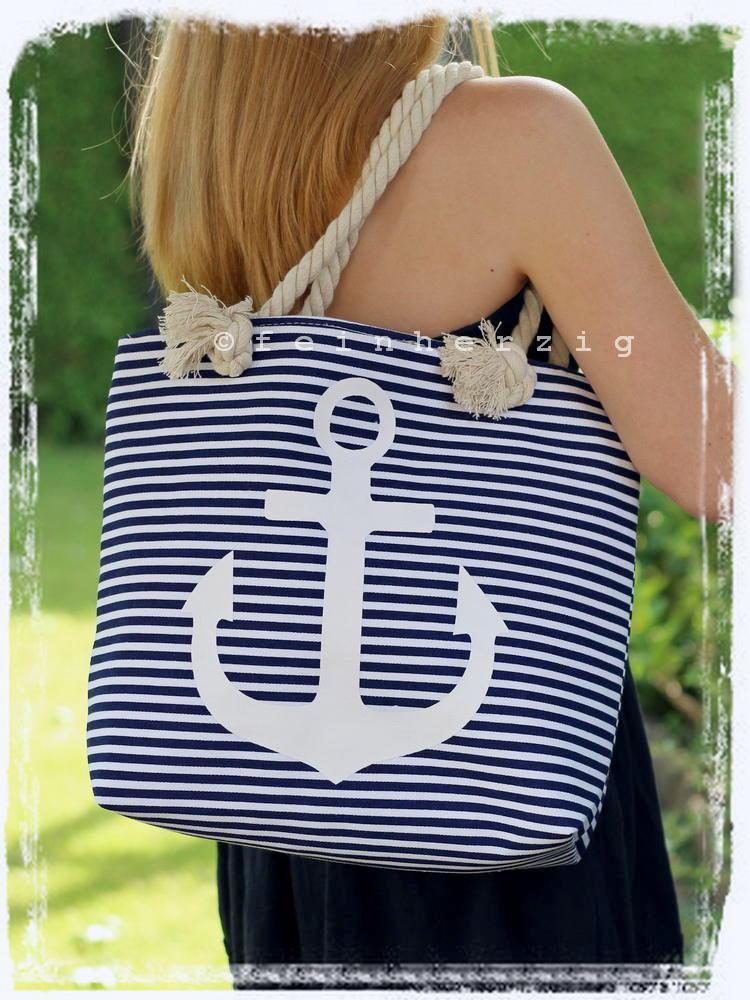 maritime tasche blau weiss gestreift mit anker in wei strandtasche shopper ebay. Black Bedroom Furniture Sets. Home Design Ideas