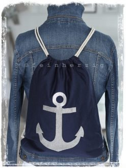 turnbeutel rucksack in der farbe marine blau mit silbernem glitzer anker aus stoff mit kordeln