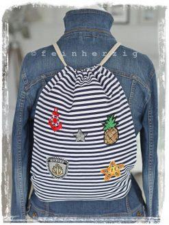 turnbeutel in der farbe blau weiss mit anker patches ananas stern rucksack retro auch für kinder in marine rot mit kordel