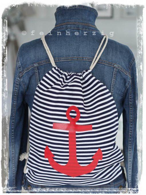 turnbeutel in der farbe blau weiss mit anker rucksack retro auch für kinder in marine rot mit kordel