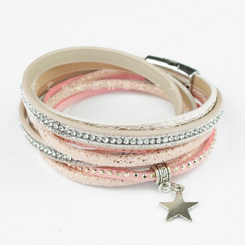 wickelarmband in rosa mit sternanhänger und glitzersteinchen und Magnetverschluss