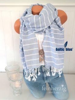 xl schal tuch balticblue baumwolle viskose hellblau weiss streifen fransen