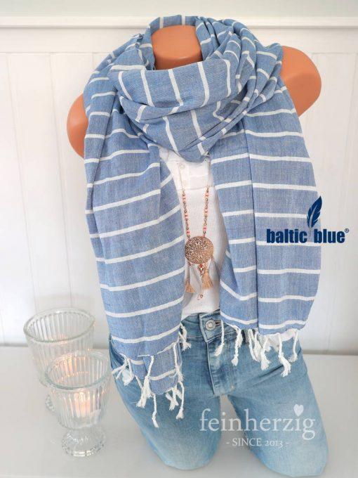 xl schal tuch balticblue baumwolle viskose imke blau weiss streifen fransen